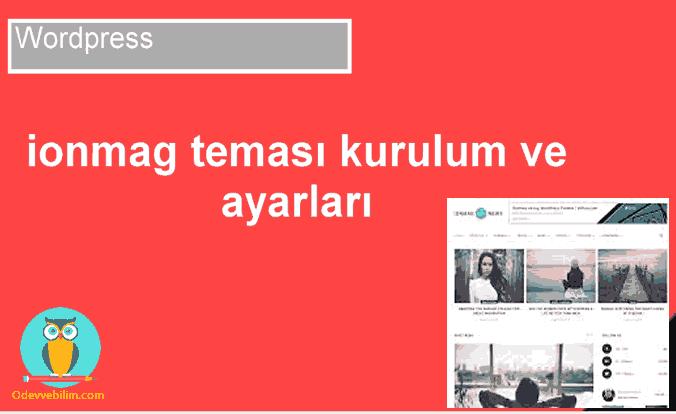 Wordpress ionmag teması kurulumu ve ayarları