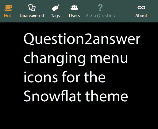 Question2answer changing menu icons for the Snowflat theme