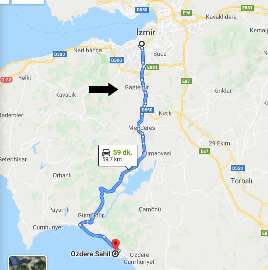 İzmir Özdere Sahiline Nasıl Gidilir