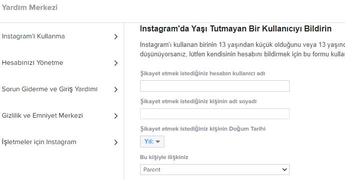 instagram şikayet, ihbar bildirimleri için kısayol formları